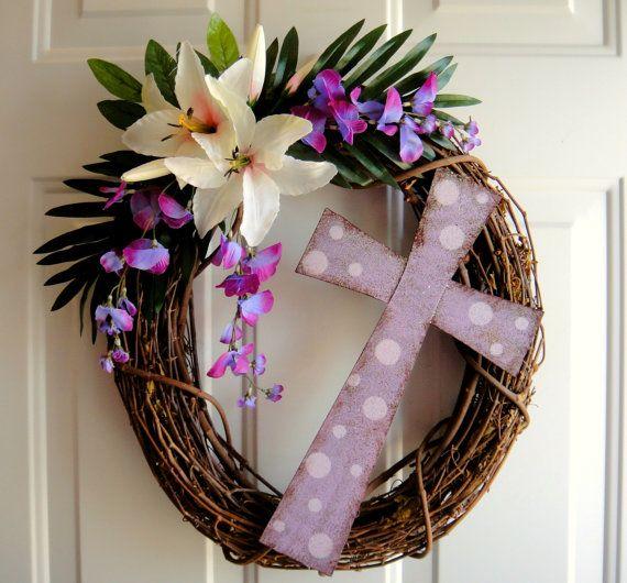 He Is Risen  Easter Wreath  Matthew 286 by DanaCarolM on Etsy, $45.00