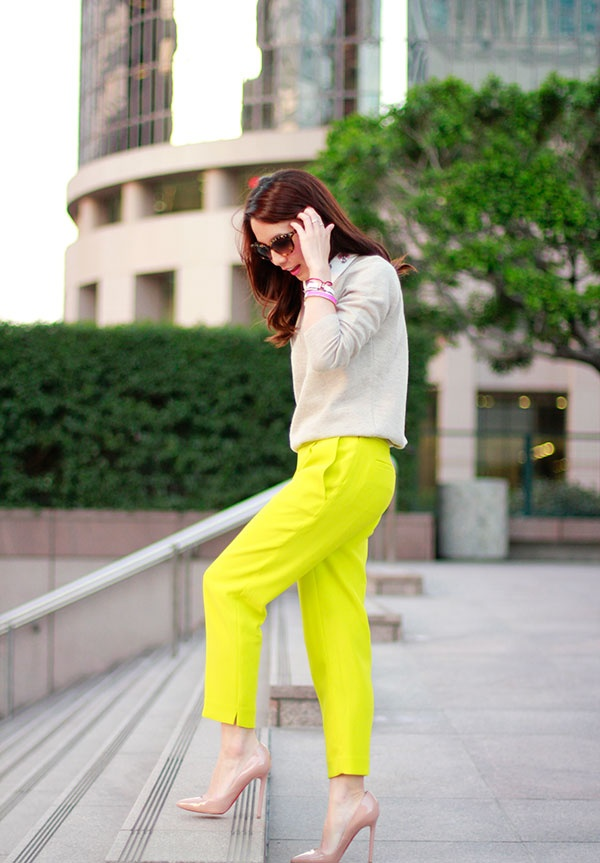 neon pants, neutral sweater