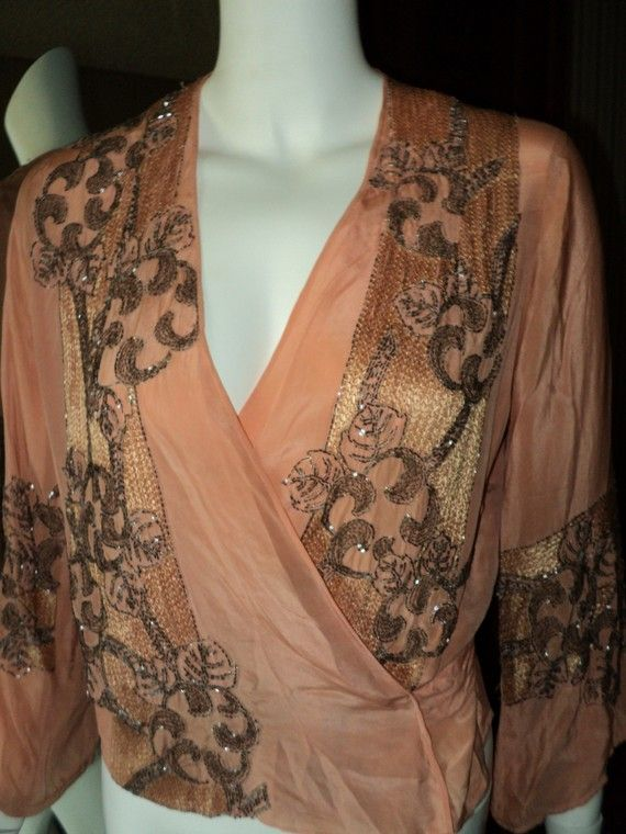1920's Flapper Beaded Silk Wrap Top Blouse Peach от Bellasoiree: