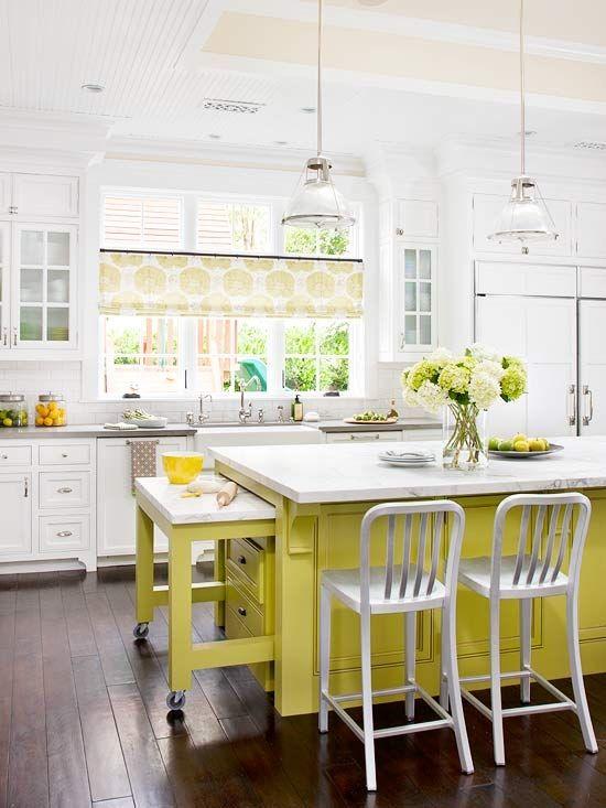 Pops of citrus!: Bright Kitchens, Work Spaces, Counter Spaces, Kitchens Islands, Colors Kitchens, Yellow Islands, White Cabinets, Yellow Kitchens, White Kitchens