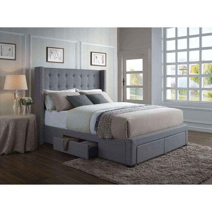Enrich your bedroom with the simple elegance of this Melrose Grey Linen Wingback Storage Bed. With four drawers in the baseboard, this eye-catching bed creates a stylish, functional storage solution.