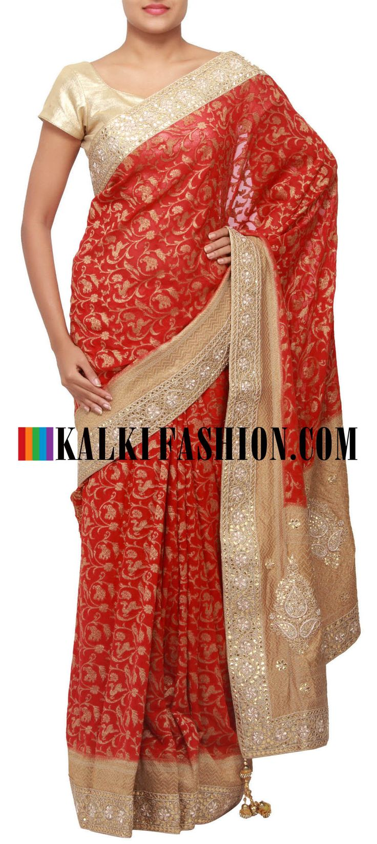 Get this beautiful saree here: http://www.kalkifashion.com/red-saree-enhanced-in-gotta-patti-cut-work-border-only-on-kalki.html Free shipping worldwide.