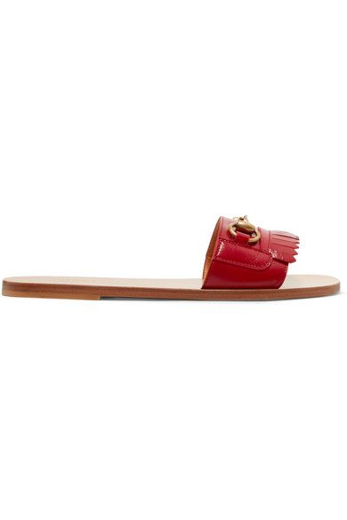 e684f7095 Gucci - Horsebit-detailed Leather Slides - Red in 2019 | Products | Shoes  flats sandals, Gucci shop, Gucci horsebit