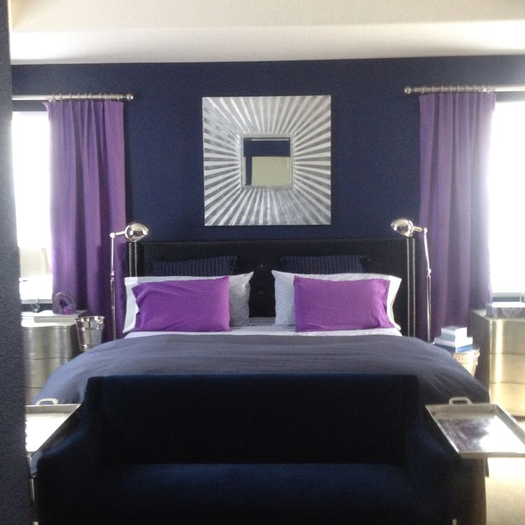 Purple and navy master bedroom