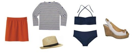 Rok: APC, Hoed: Topshop, trui: Saint-James, bikini: COS, schoenen: Unisa