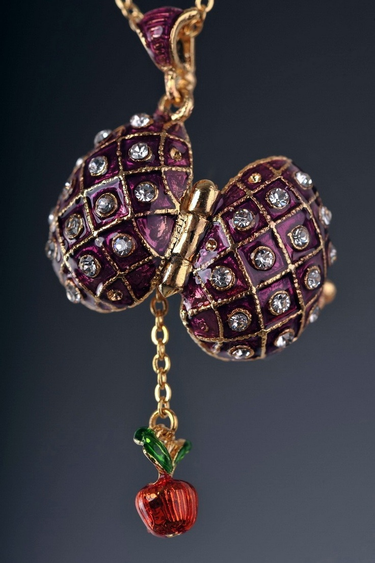 Faberge Easter Egg Necklace gold plated pendant apple charm - Each item is made of pewter