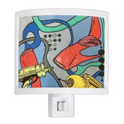 #modern - #'MidCentury Mod Glamour Invasion' painting on a Night Light