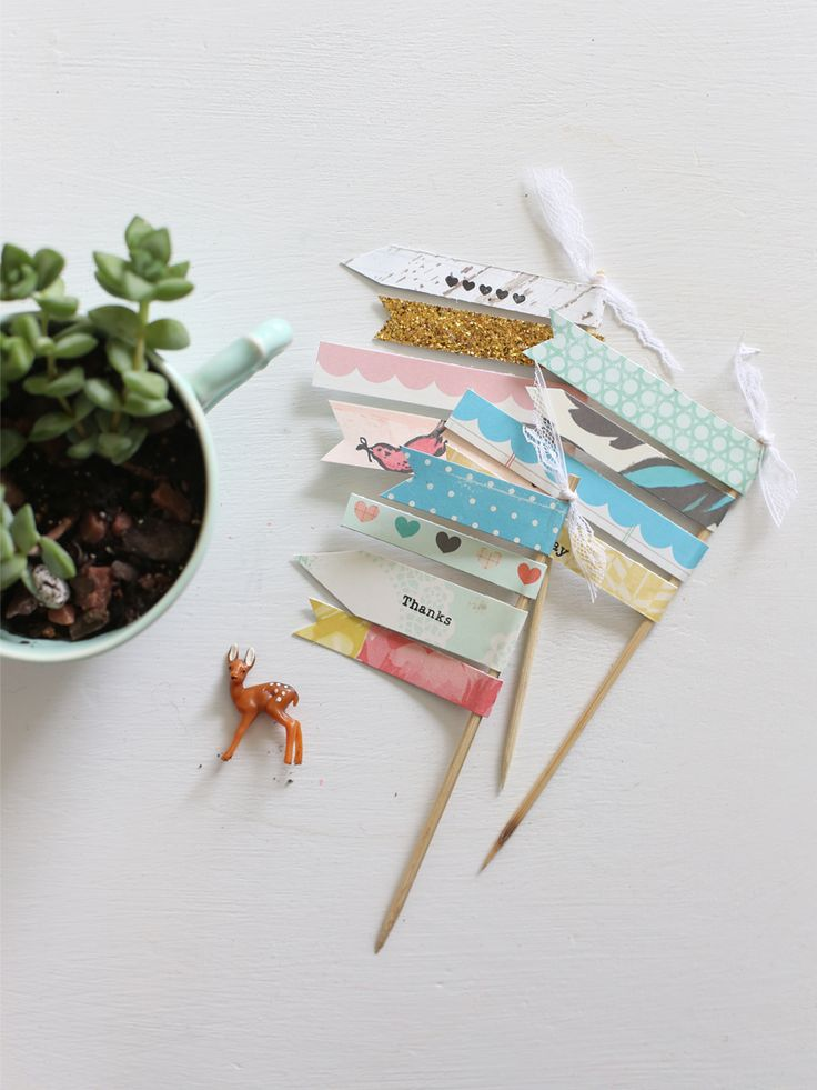 DIY Paper Flags for Gifts & Packages