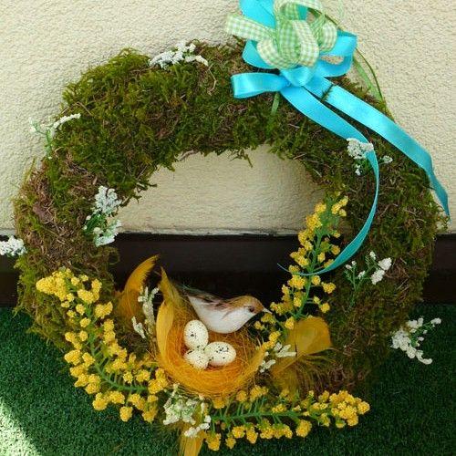 Wianek wielkanaocny żółty z mchu - Wielkanoc - Ozdoby świąteczne
