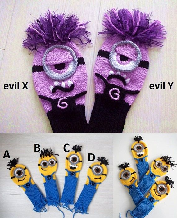 Hand Knit MINION Inspired GOLF Club Head Cover Evil by xfunnyx