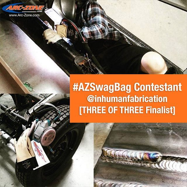 Here is THREE OF THREE Finalist @inhumanfabrication who we thought rocked the #AZSwagBag contest by perfectly showcasing and explaining which Arc-Zones welding tools help them Weld Like A Pro!  DO NOT VOTE HERE So my favorite welding supply store is doing a giveaway and even if I don't win I feel like I have to post because the whole @arc_zone crew has helped me out so much over the past year. Thanks guys!