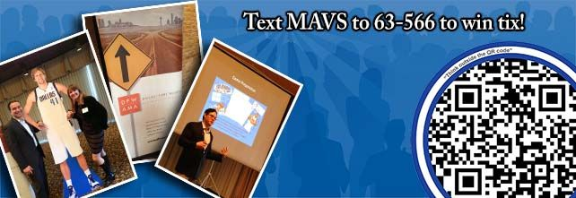 Text MAVS to 635-66 - Download the app - Scan to enter to win.