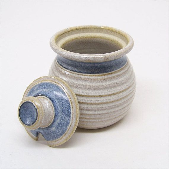 Honey Pot and Sugar jar In Soft White and Blue 2 cup by JimAndGina, $22.00