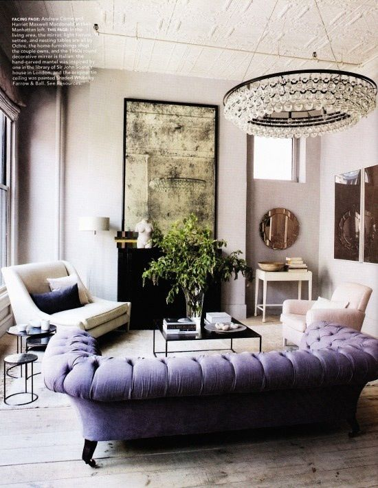 lavender sofa: Purple Couch, Mirror, Idea, Living Rooms, Lights Fixtures, Color, Interiors Design, House, Chesterfield Sofas