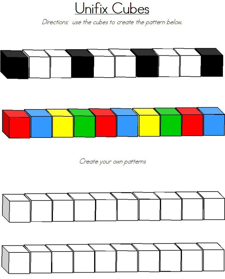 LOTS of printable pages of unifix cube patterns. Laminate and place in a bin with unifix cubes for independent work.