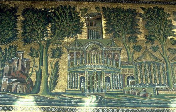 The Barada Mosaic in the Umayyad Mosque in Damascus, created under Caliph al-Walid (705-715). The Umayyad Mosque was built on the site of previous religious institutions – a Roman temple and a Christian cathedral. The mosaics were painted over and...