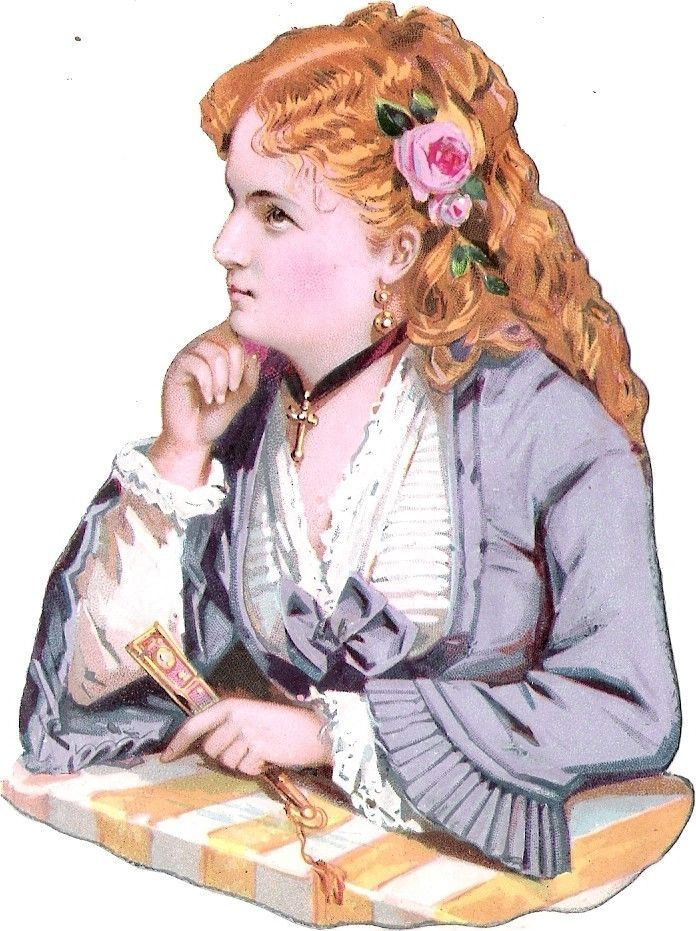Oblaten Glanzbild scrap die cut chromo Lady Dame Frau  femme Portrait