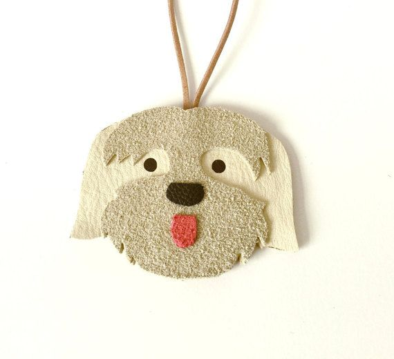 Lhasa Apso Dog Leather Ornament / Leather by TheDogsCollarsUK
