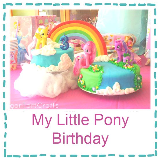 My Little Pony birthday party. I love the two cakes! Very unique! My Little Pony's Party! // rainbow dash birthday party // my little pony birthday party  My Little Pony Birthday Party girl cake my little pony mlp pink blue