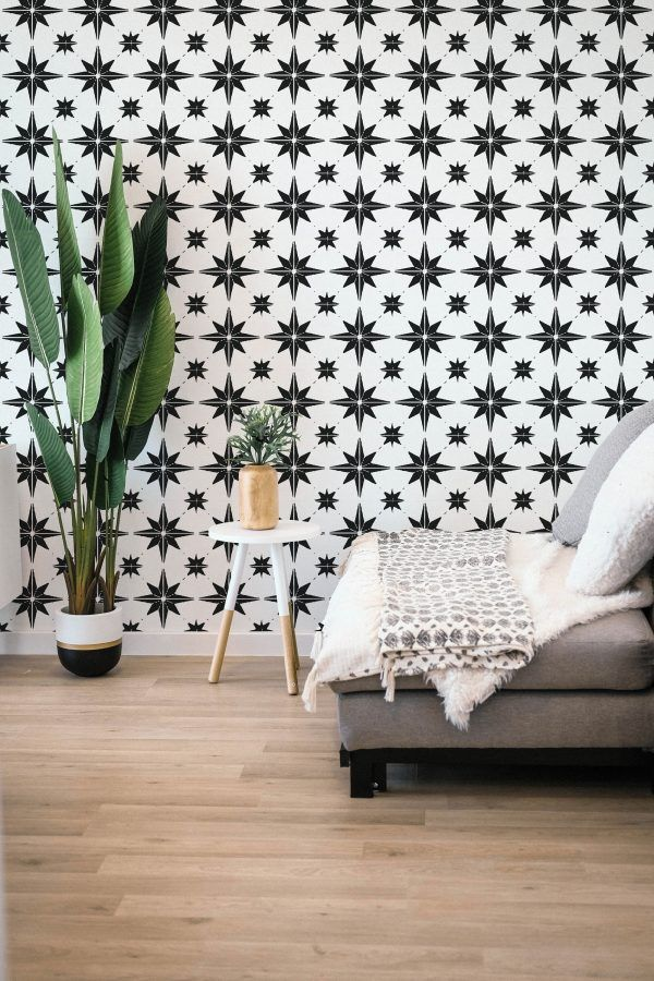 Black And White Star Pattern Peel And Stick Wallpaper Peel And Stick Wallpaper Black And White Stars Wallpaper