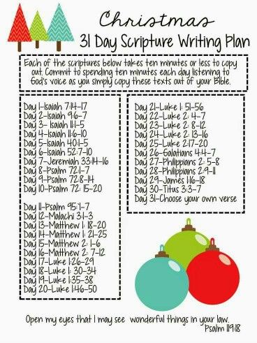 Christmas 31 Day Scripture Writing Plan