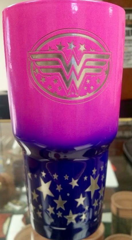Wonder Woman, pink and blue powder coated and laser etched Yeti.