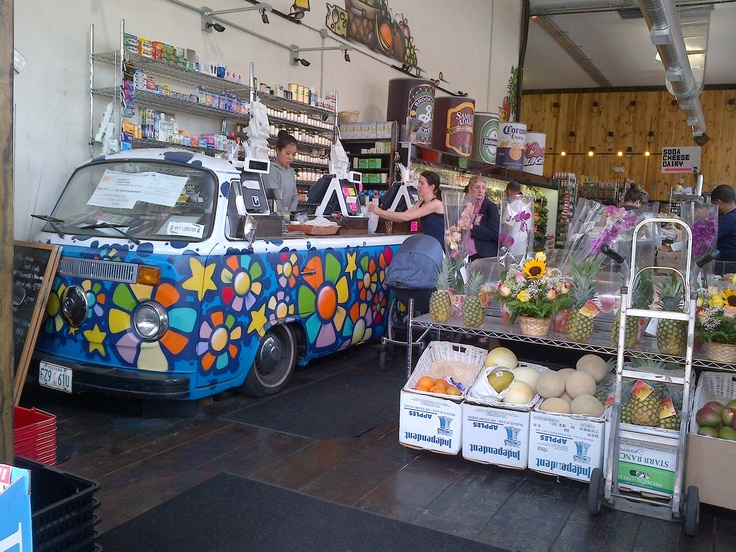 A very cool store counter made from a recycled VW bus!