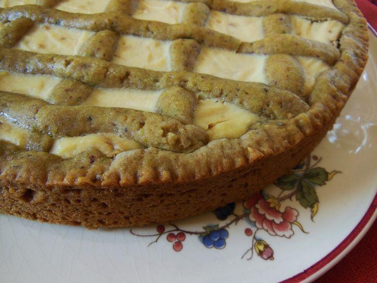 crostata pistacchi ricotta e cioccolato bianco