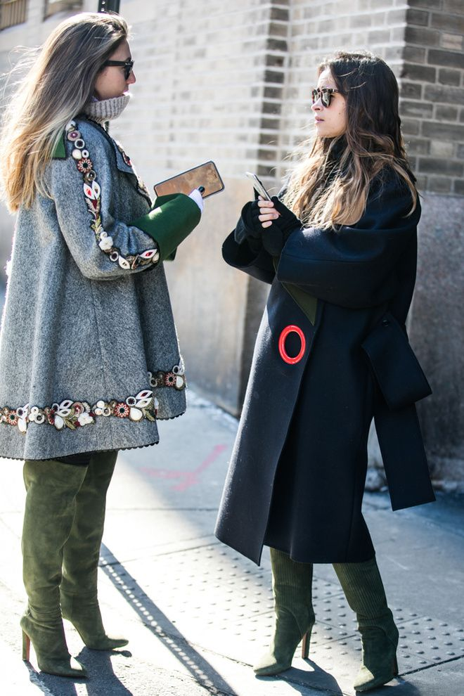 Similar green suede boots -  different outfits. Fall layers, beautiful coats.