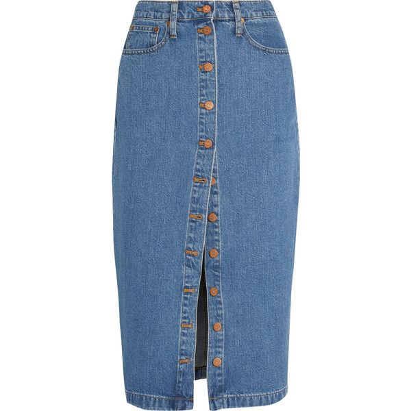 Madewell Denim midi skirt (176 AUD) ❤ liked on Polyvore featuring skirts, blue, madewell skirt, knee length denim skirt, madewell, blue midi skirt and midi skirt