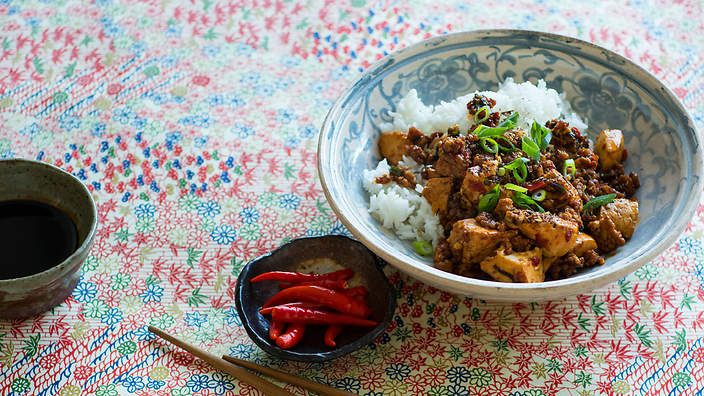 Originating in Sichuan province, mapo tofu is a fiery dish of pork, silken #tofu and chilli bean paste. Listen to the audio recipe.