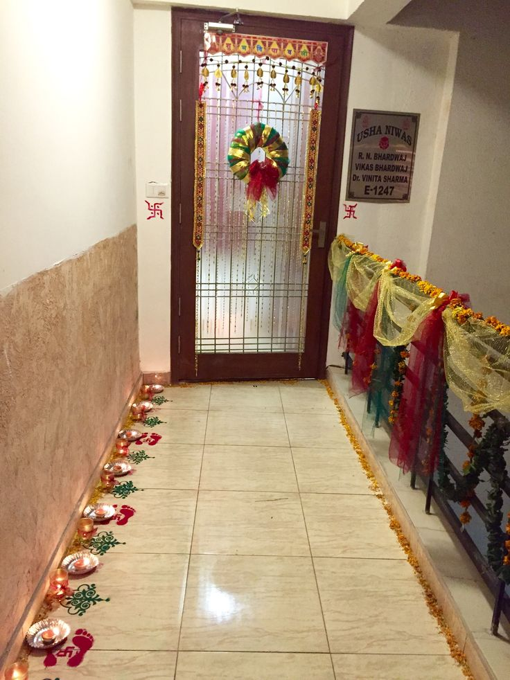 Entrance Decorations For Diwali Wreath Rangoli Candles