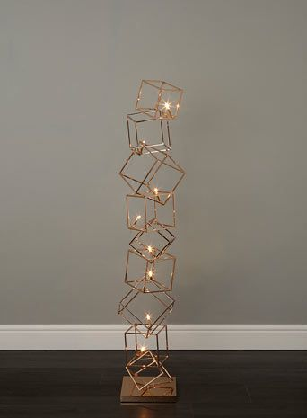BHS // Illuminate Atelier // Dexter Floor Lamp // Copper gold cage cube stack floor lamp