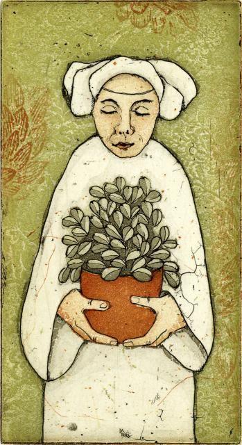 Piia Lehti: Kodinonni / Peace-in-the-home etching, 2005