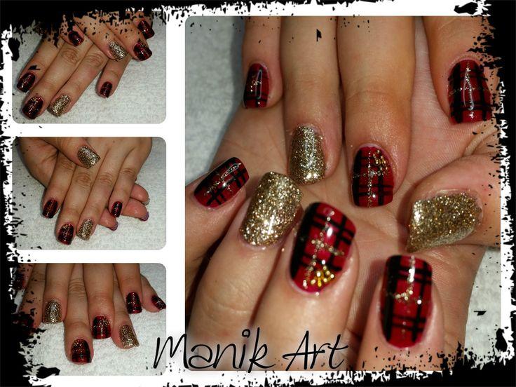 #ongle #noel #gold #christmas #nails #nailart #original #design #red #black #gold