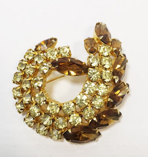 Vintage Continental Signed Brooch 1960s Gold Rhinestone Pin