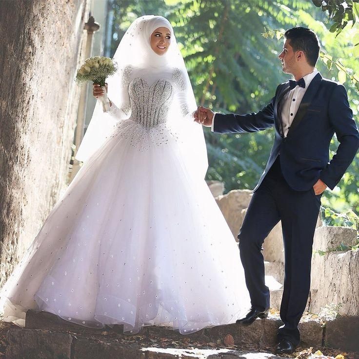 2016 Long sleeve Muslim Hijab Wedding Dress Robe De Mariage Arabic Bridal Dresses Musulman Islamic Wedding Dresses With Hijab(China (Mainland))