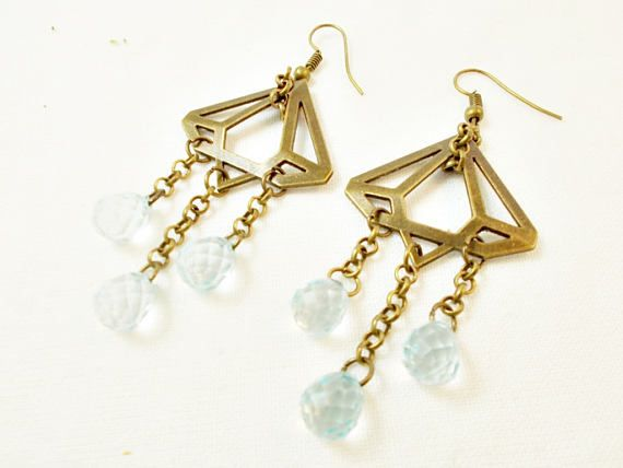 Diamond shape bronze chain handcrafted earrings boho dangle #boho #lightblue #earrings #longearrings