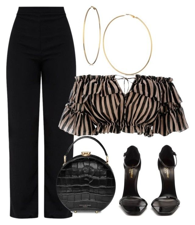 """""""Black Pant"""" by matousadiya ❤ liked on Polyvore featuring Zimmermann, Yves Saint Laurent, Aspinal of London and GUESS"""