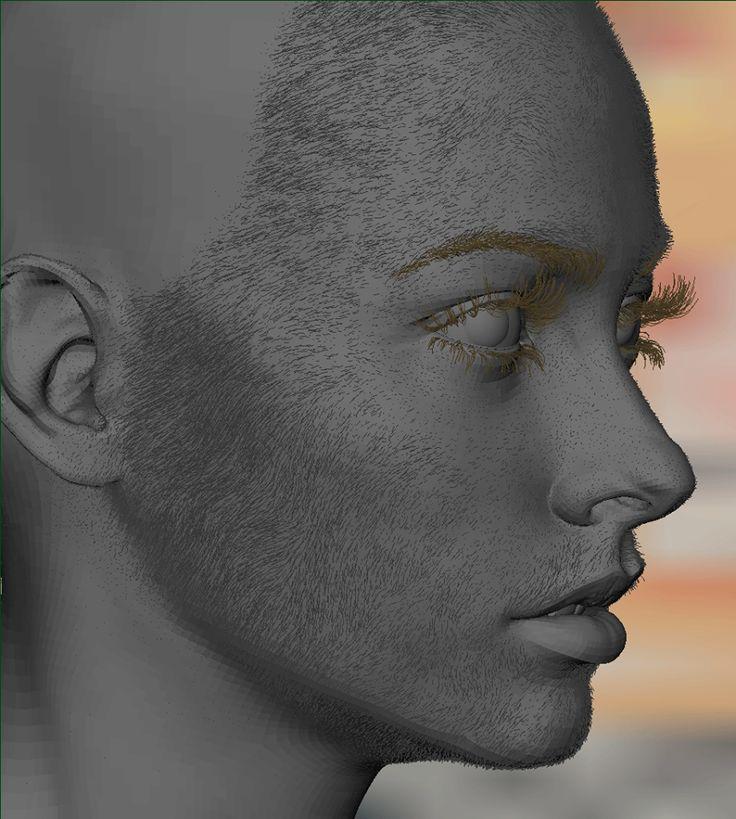 Face fuzz using ZBrush's Fibremesh - Khitan Digital