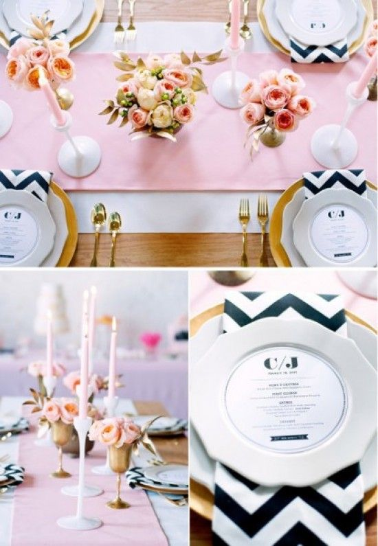 """Napkins.  A simple way to add that """"special something"""".  Very pretty and inexpensive.  The price of rented napkins can start as low as 75 cents a piece depending on the vendor: Table Settings, Chevron Napkins, Bridal Luncheon, Wedding Ideas, Place Setting, Bridal Shower, Pink, Party Ideas"""