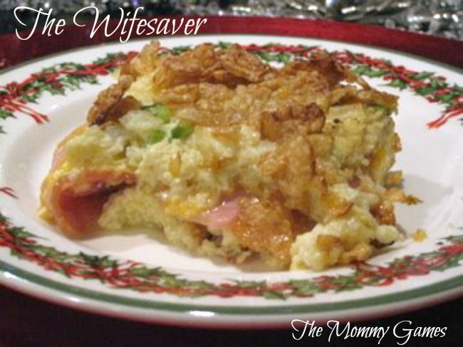 The Wifesaver. Make this casserole the night before, then just pop it in the oven the morning of. So easy! By The Mommy Games