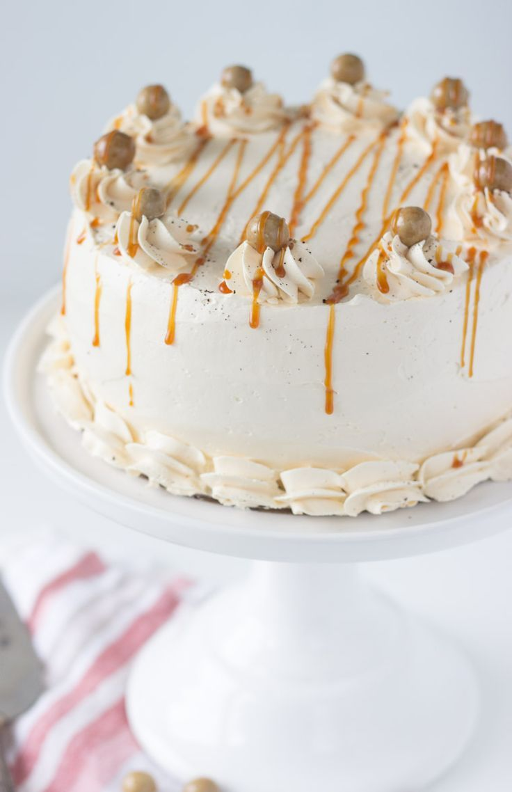... latte with a rich coffee cake topped with caramel buttercream