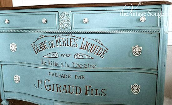 Beautiful-Hand-Painted-Dresser. Jenni from The Vintage Songbird hand painted this gorgeous dresser and used The Graphic Fairy's Vintage Perfume Label to give it a fabulous French look!