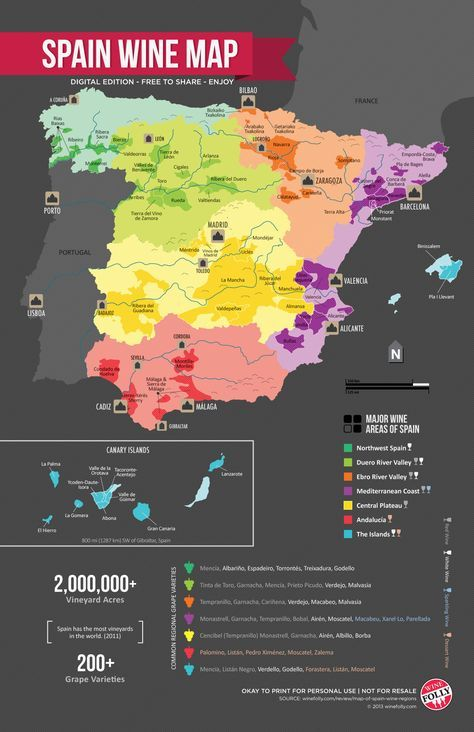 """Spain Wine Regions Map,"" by Wine Folly -- ""Spain is a very diverse country so it helps to get a lay of the land. This map of the wine regions of Spain helps to put into context the various kinds of wines that grow throughout the country."""