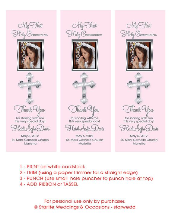 Printable first communion bookmark favors girl first by starwedd