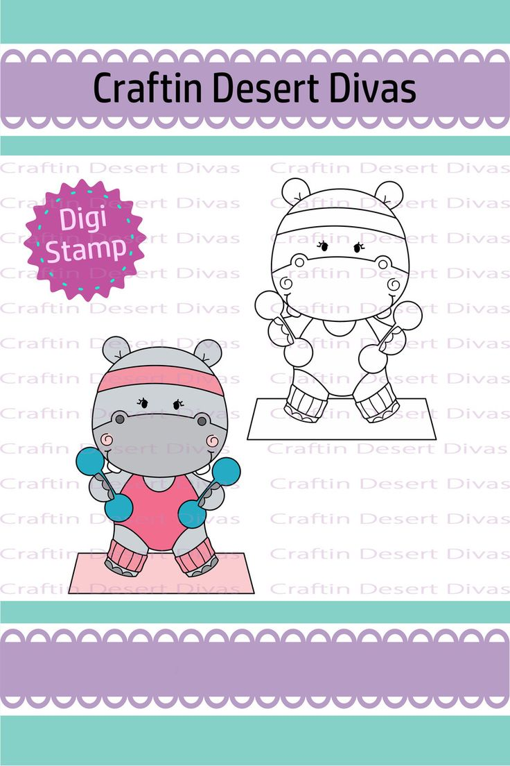 Fitness Hippo Weights Digital Stamp - Craftin Desert Divas