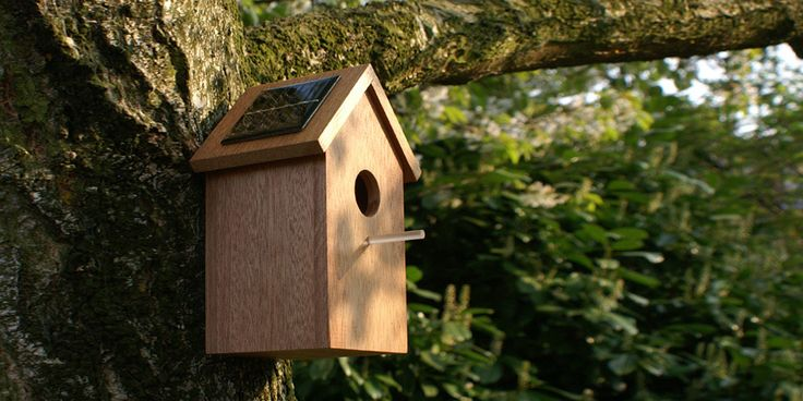 OOOMS designed a birdhouse with a solar panel on it's roof. During the day sunlight feeds the solar panel, charging a small battery inside. At twilight the transparent stick will light up and cast a tiny light on your garden. This light attracts an easy night time snack for the bird; all she has to do is stick her beak out of the hole and wait for the buzz.