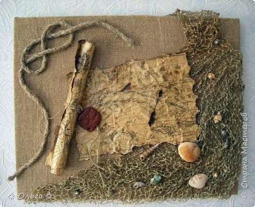 Картина панно рисунок День рождения Ассамбляж Морская тема  Бумага Ракушки Сетка Шпагат фото 1
