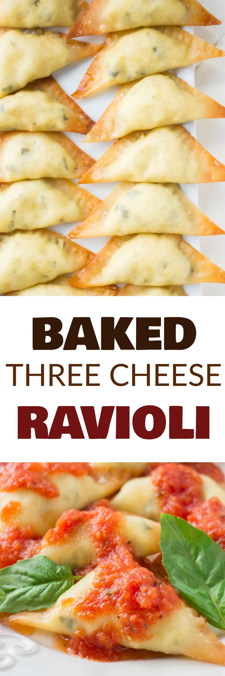 EASY BAKED Three Cheese Ravioli is one of my family's favorite meals! This homemade recipe uses wonton wrappers for the ravioli to make it faster and is filled with ricotta, mozzarella and Parmesan cheese! Instructions include how to make and bake immediately or freeze for frozen ravioli.